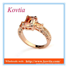 New products 2016 fashion 18k rose gold yellow topaz rings jewelry