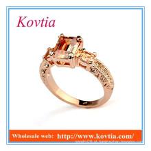 Novos produtos 2016 moda rosa 18k ouro amarelo topázio anéis jóias