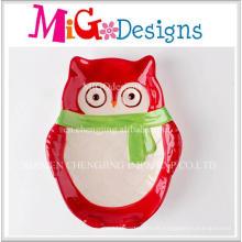 Großverkauf der fabrik Weihnachtsgeschenk Keramik Eule Design Platte