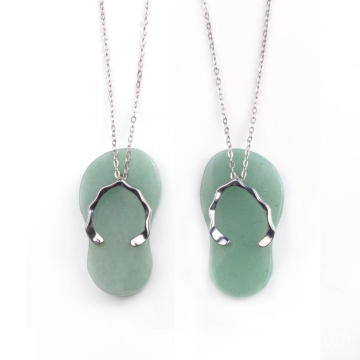 Latest Design Silver Jewelry Necklace Custom Lovely Green Slipper Meaningful Pendants