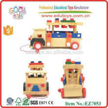 New Arrive Pull Along Self Assembly Nut & Screw Combination Wooden Car Toy