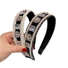 Bandeau fascia per capelli Pearl Rhinestone Wide Headband Luxury Hair Accessories Sweet Wedding Bride Hairband Baroque Vintage For Women Girls Gift