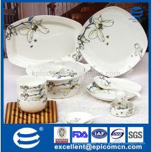 Ensemble de vaisselle quadrillé en porcelaine 86pcs neuf avec impression Magnolia