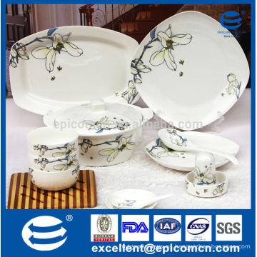 86pcs nuevo vajilla cuadrada de China de hueso conjunto con impresión Magnolia