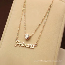 gold plated script necklace for women
