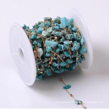 Natural Stone 4-8mm Semi-Precious Raw Aventurine Agate Gravel Handmade Copper Chain DIY Jewelry Accessory Chain