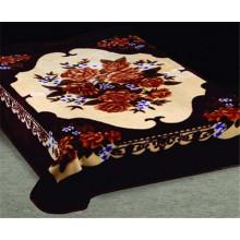 Dark Color Floral Printing 100% Polyester Blanket