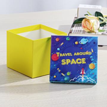 Caixa quadrada de presente amarela elegante e personalizada de Natal