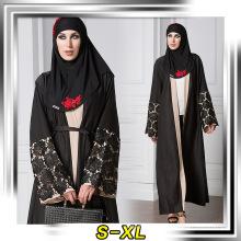 Vestido de desgaste musulmán de moda de poliéster de calidad superior mujeres negro moderno abaya