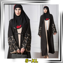 Mode de qualité supérieure en polyester de mode musulman porter robe femmes noir abaya moderne