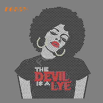 THE DEVIL IS A LYE afro rock rhinestone transfer