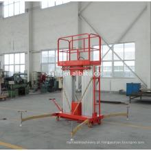 Plataforma de trabalho aéreo de mastro duplo de alumínio móvel hidráulico 10m