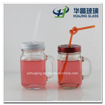 350ml 12oz Square Drinking Glass Mason Jar with Handle Straw