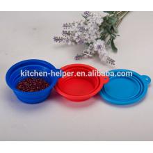 Promocionais Atacado Alimentos Grade Non-Stick Viagem Resistente ao calor colapsável Silicone Pet Bowl / colapsável Pet Dog Cat Bowl