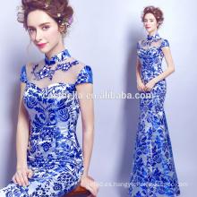 Caliente venta de fábrica por encargo de turquesa azul largo sirena vestidos de noche azul paquete de la cadera vestido de noche delgado