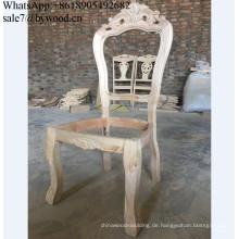 Möbelrahmen, der hölzernen Stuhl schnitzt Rahmen-unfertiger hölzerner Stuhl gestaltet hölzernen speisenden Stuhl mit dem französischen Stil