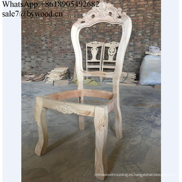 silla de madera tallada del marco de los muebles Silla de madera sin terminar marcos de la silla de madera de comedor con estilo francés