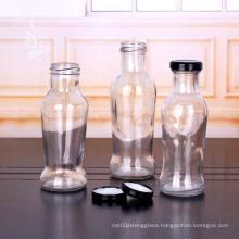 250ml 225ml 350ml clear juice bottles glass beverage bottle with metal lid