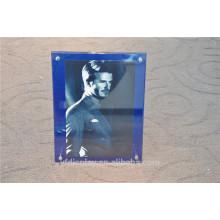 Blauer Acryl Bilderrahmen mit Metall Unterstützung