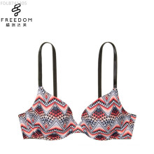 Customized simple design and digital printed very sexy comfort 3/4 cup model plus size women push up bra