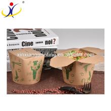 Kundengebundener Logo-biologisch abbaubarer Teigwaren-Nudel-Kasten, runder Papierkasten für Lebensmittel-Verpackung