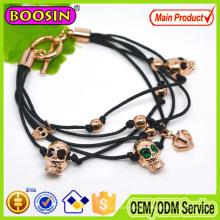 2016 Newest Multiple Black Leather Wrap Bracelet Skull Charm Bracelet