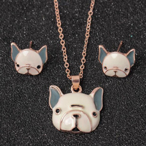 Alloy Crystal Lovely Dog Pendant Necklace Set