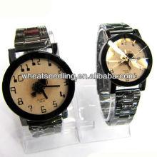 Clásico de acero inoxidable correa par de relojes regalo conjunto de mirar las niñas