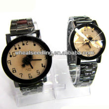 Classique bracelet en acier inoxydable couple montres set set watch girls