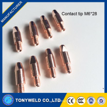 copper contact tip M6X28 for mig welding torch