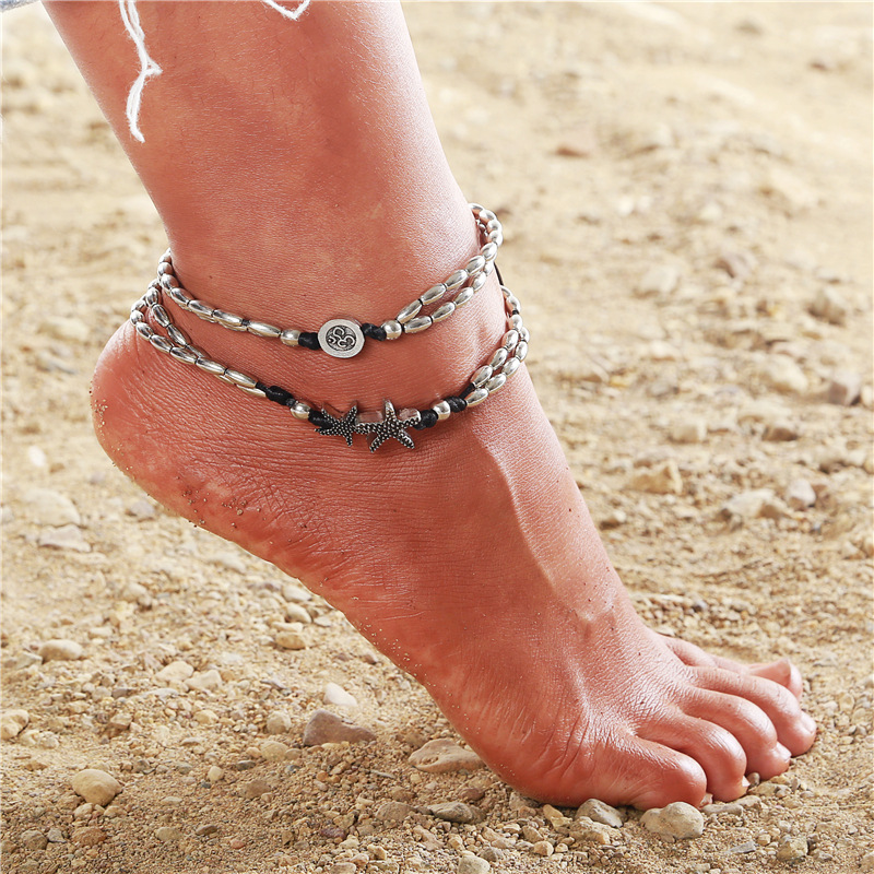 Boho Starfish Anklets Vintage Ankle Bracelets Silver Beach Pendant Anklet for Women and Girls