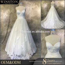 Heiße Verkaufs-Fabrik kundenspezifische Stickerei königliche blaue und weiße Hochzeitskleider