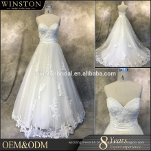 Hot Sale Factory Custom bordados vestidos de casamento azul royal e branco