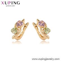 96844 xuping moda banhado a ouro duplo coração em forma de brincos de pedra