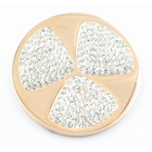316L Edelstahl Münze Platte mit weißem Kristall