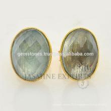 Vente en gros Boucles d'Oreilles Pierres Gemmes Rondes Sterling Silver en Verre 925 Sterling Silver
