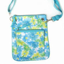 Flower Pattern TC Fabric Shoulder Bag with One Slip Pocket and Velcro Flap Closure