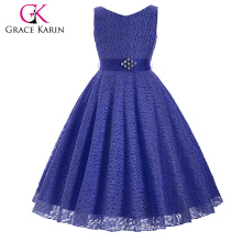 Grace Karin Ärmellos V-Ausschnitt Spitze Blume Mädchen Prinzessin Festzug Marine Blau Kleid 2 ~ 12Years CL008938-8