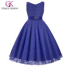 Grace Karin sem mangas V-Neck Lace Flower Girl Princess Pageant Navy Blue Dress 2 ~ 12Years CL008938-8