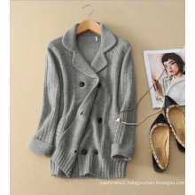 2017 New design Europe women pure cashmere coat with turn-down collar thick winter double-breasted coats
