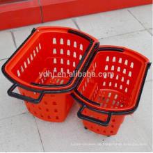 Supermarkt-Plastikeinkaufs-Rolling Basket mit Rädern