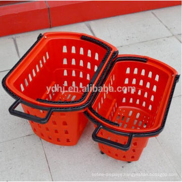 Supermarket Plastic Shopping Rolling Basket with Wheels