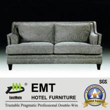 Conjunto confortável de sofá duplo confortável Sofá de madeira do hotel (EMT-SF38)