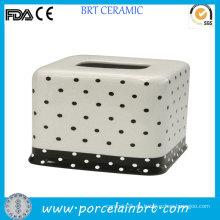 Venta al por mayor Dots caja de tejido de cerámica