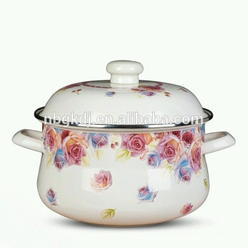 enamel flower decals big body pot soup & stock pot