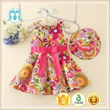 Patrón de flores florales vestidos de los bebés 2016 recién llegado de moda diseño niñas vestido de verano vestido de la muchacha del bebé al por mayor