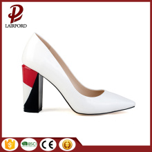 middle heel white PU elegant women shoes
