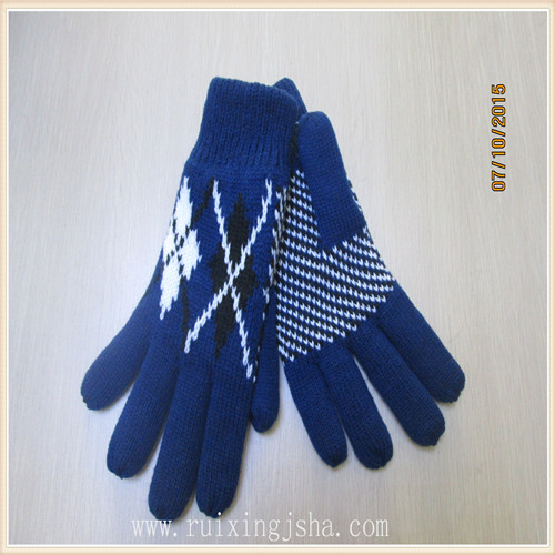 men winter jacquard knitted gloves