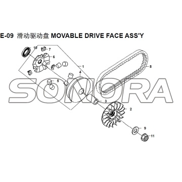 E-09 MOVIVE DRIVE FACE ASSY XS150T-8 CROX Per SYM Spare Part Top Quality