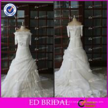 ED Real Sample Lace Ruffle Organza Pleating Bow Detachable Skirt Wedding Dresses